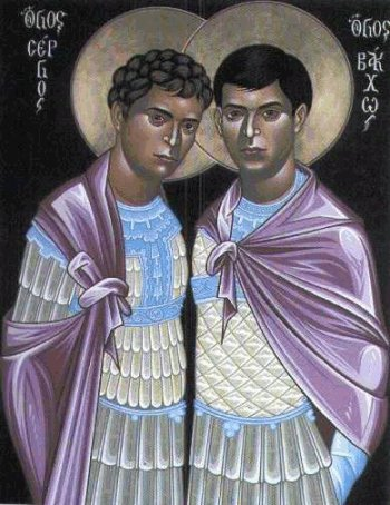 Saints Sergius and Bacchus, martyred for the faith in 303 AD. Their hagiography seems to indicate that they were gay.